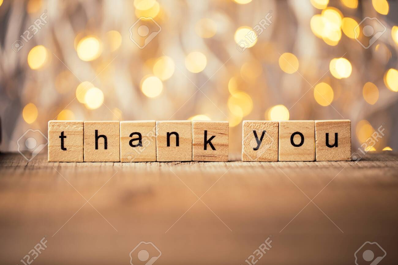 Thank you wooden blocks against shiny background. - 124441827