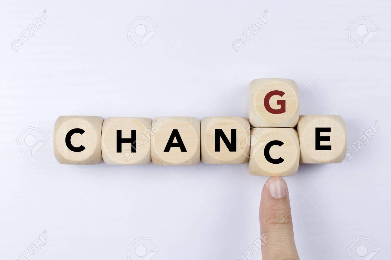 Wooden cube with word change to chance, Personal development and career growth or change yourself concept. - 124445217