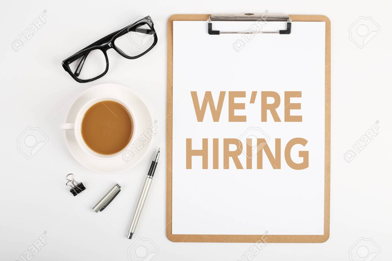 We are hiring concept on the office desktop. - 124450787