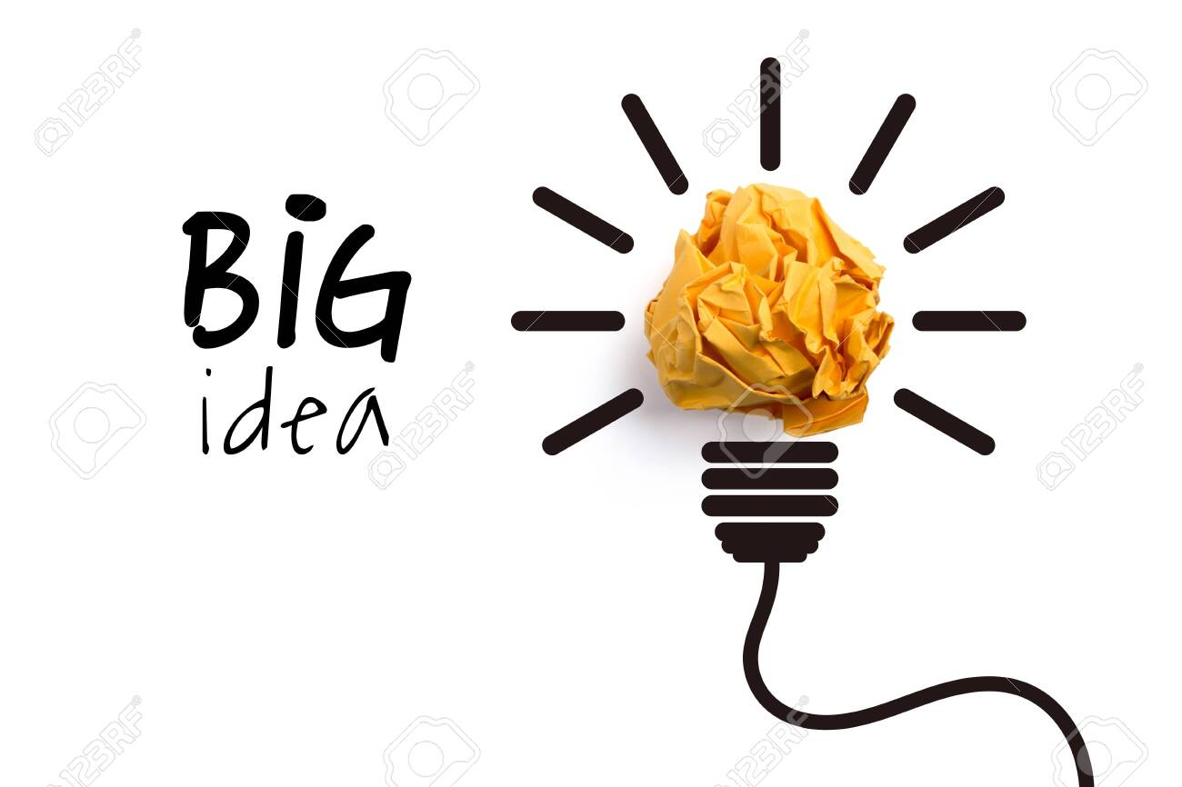 Big idea and innovation concept with paper ball. - 152379852