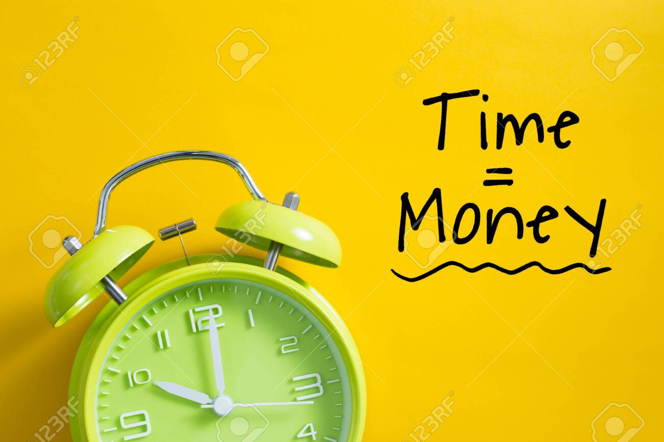 Time is money concept with alarm clock aside. - 152380340