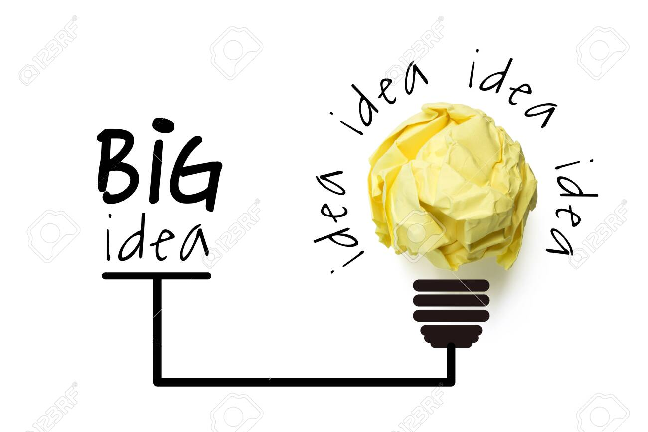 Big idea and innovation concept with paper ball. - 152380615