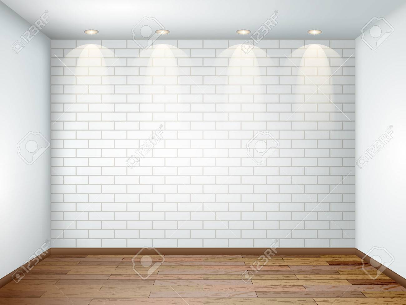 white stock with room floor vector wall wooden photo and interior empty brick