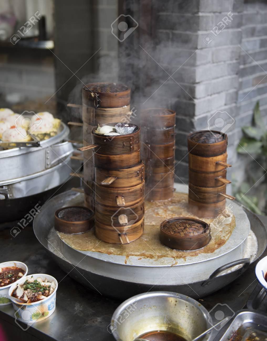 Chinese Dim Sum Essen Lokal Bambus Dampfer Korbe Sind Stapeln Eine