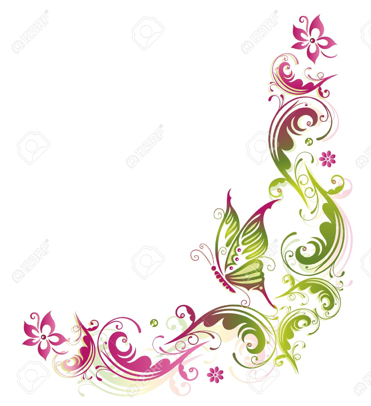flower, summer, butterfly, green, pink royalty free cliparts
