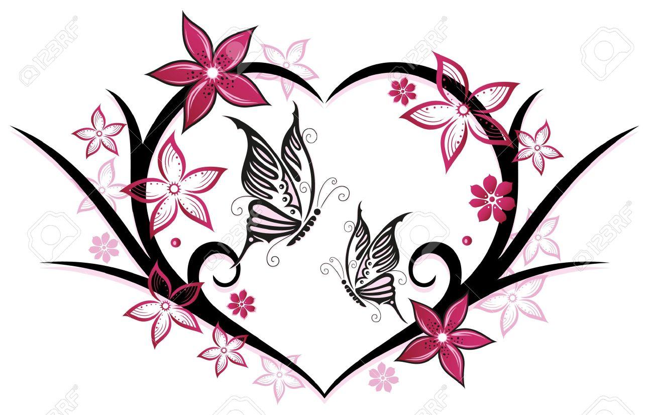 coeur avec des papillons et des fleurs, rose clip art libres de