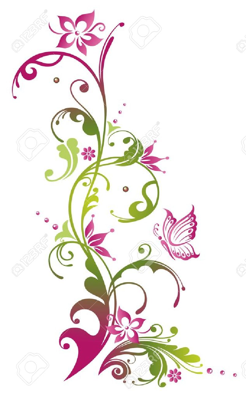 Green floral design vector graphic free vector graphics all free - Colorful Flowers With Butterfly Green And Pink Stock Vector 21683340