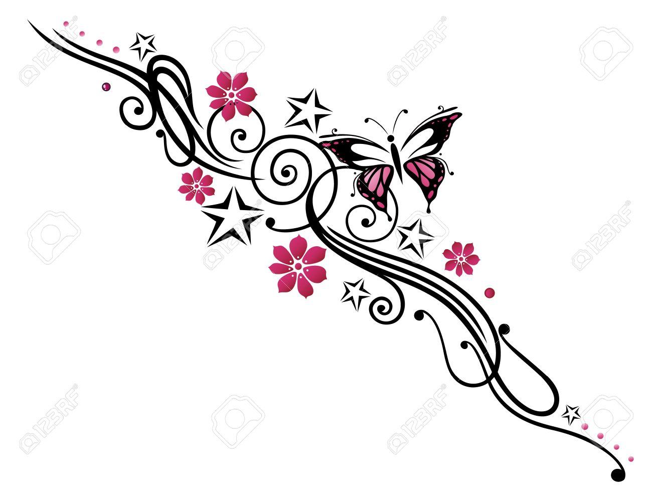 tatouage fleur noir et rose tribal avec papillon