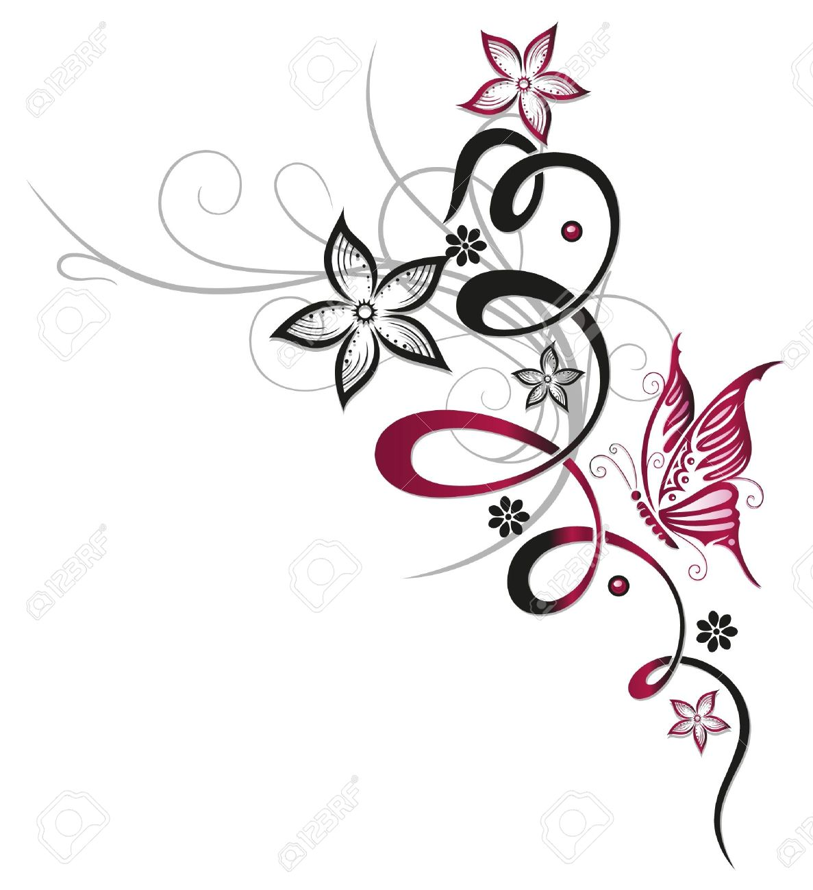 tendril with decorative flowers red and black stock vector 21684015 - Decorative Flowers
