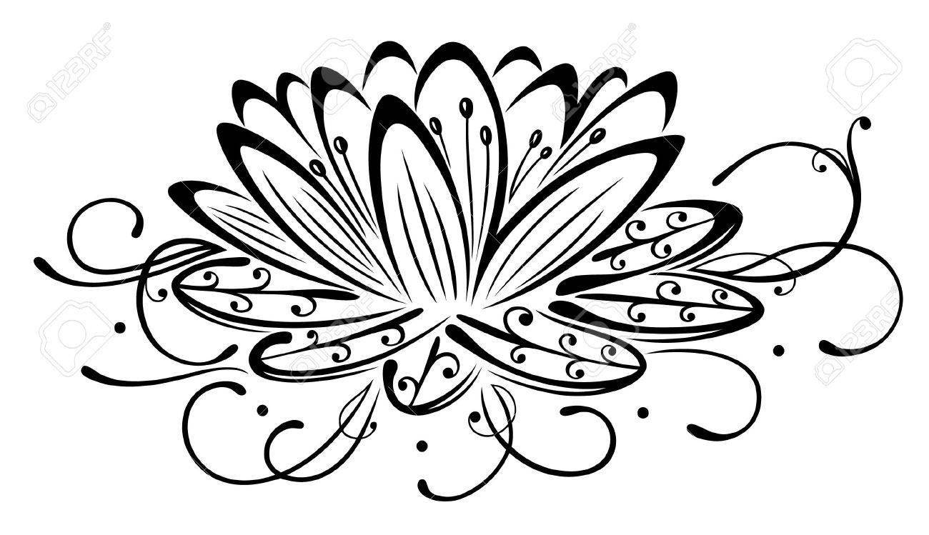 Filigree lotus flower, black vector Standard-Bild - 21858287