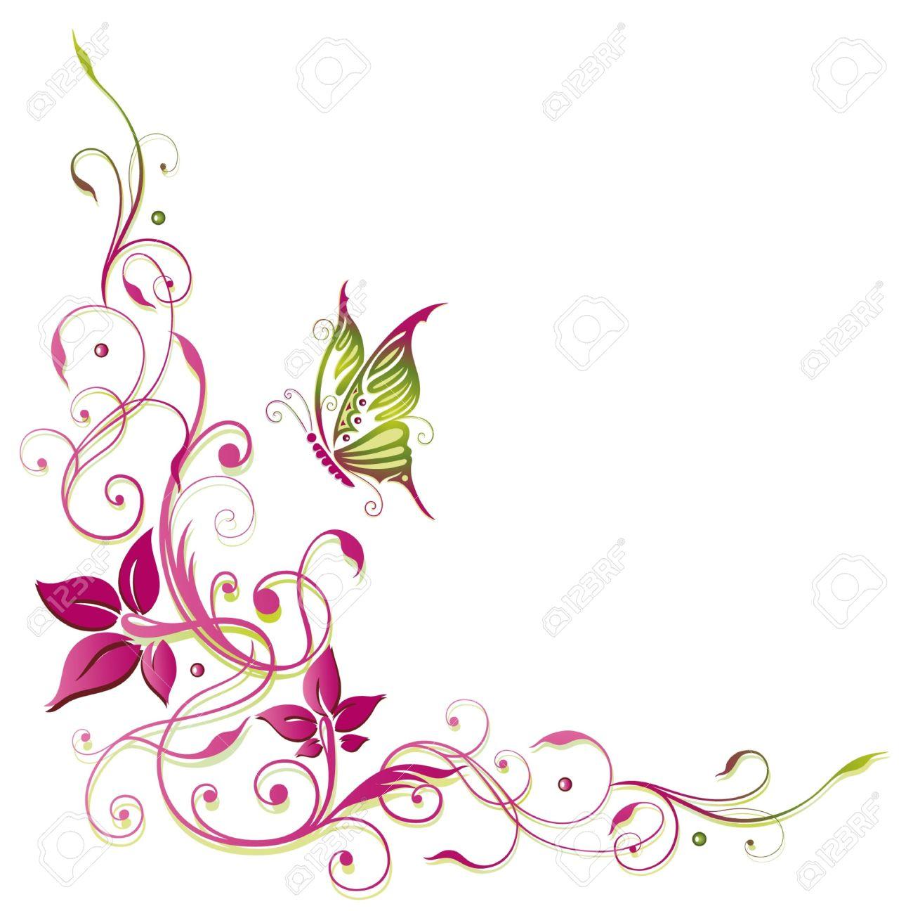 Bunte Ranke mit Schmetterling, rosa und grün Standard-Bild - 22065923