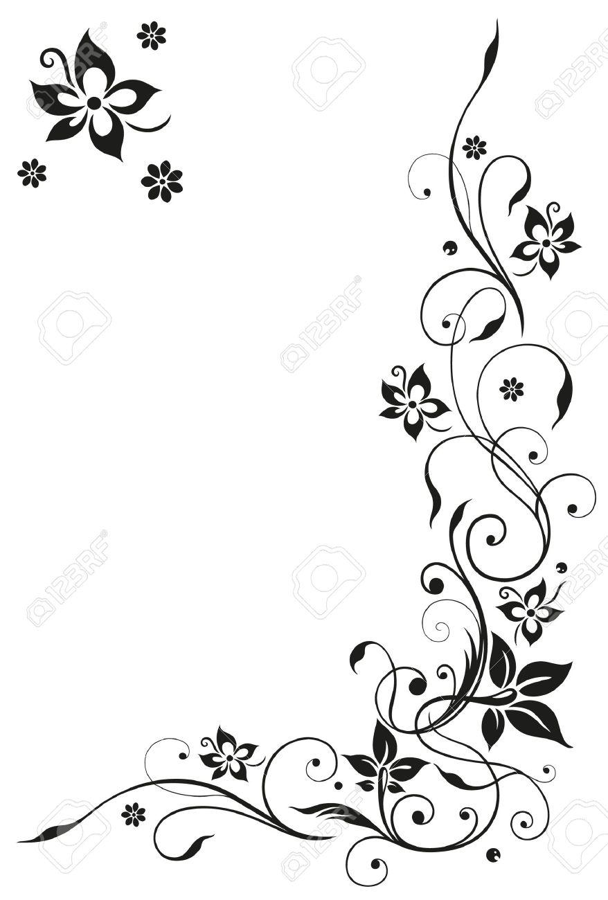 Abstract, floral tendril, black vector Standard-Bild - 22065924