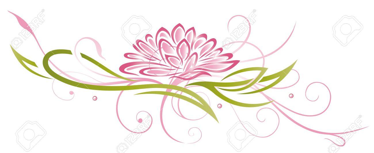 Bunte abstrakte und filigrane Lotus in rosa und grün Standard-Bild - 22065987