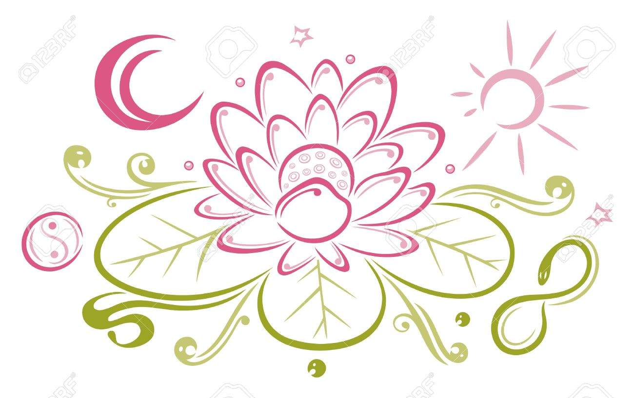 Colorful lotus with moon and sun Standard-Bild - 22065984