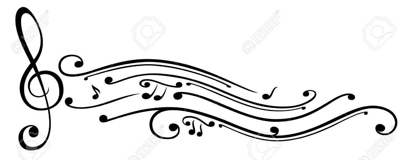 Clef with music notes, vector Standard-Bild - 22066016