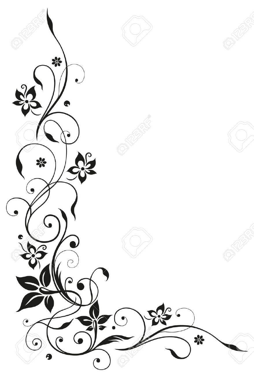 Floral element, black art Standard-Bild - 22066026