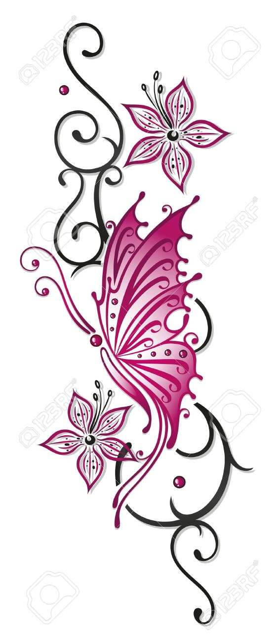 Floral tribal with butterfly in black and pink Standard-Bild - 22066046