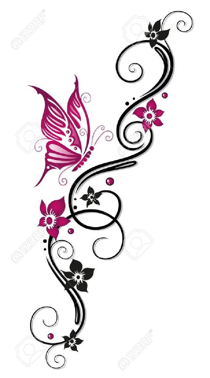 Floral tribal, tattoo in black and pink Standard-Bild - 22066049