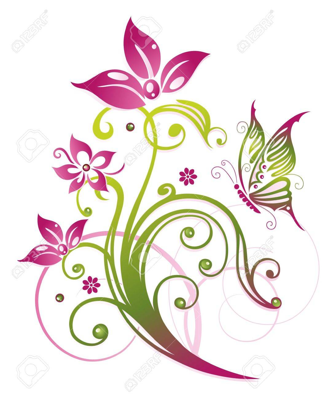 Colorful flowers in pink and green Standard-Bild - 22066055