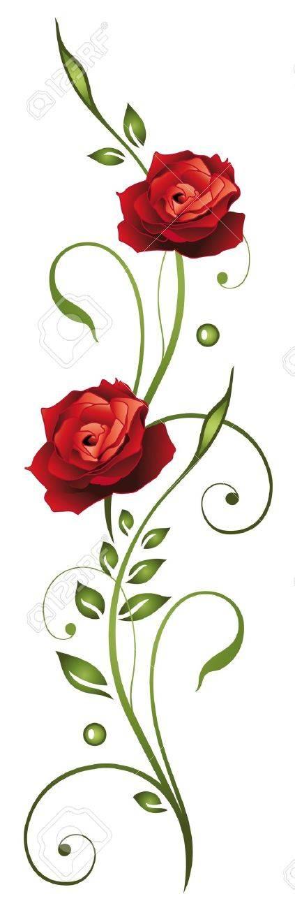 Rote Rosen mit Blättern Standard-Bild - 22066059