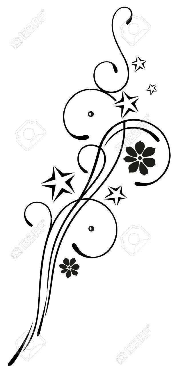 Filigran, Blumen Tribal mit Blüten und Sternen Standard-Bild - 22066097
