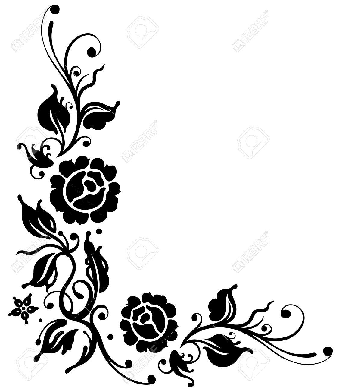 Black roses with leaves, border, vector illustration Standard-Bild - 22214485
