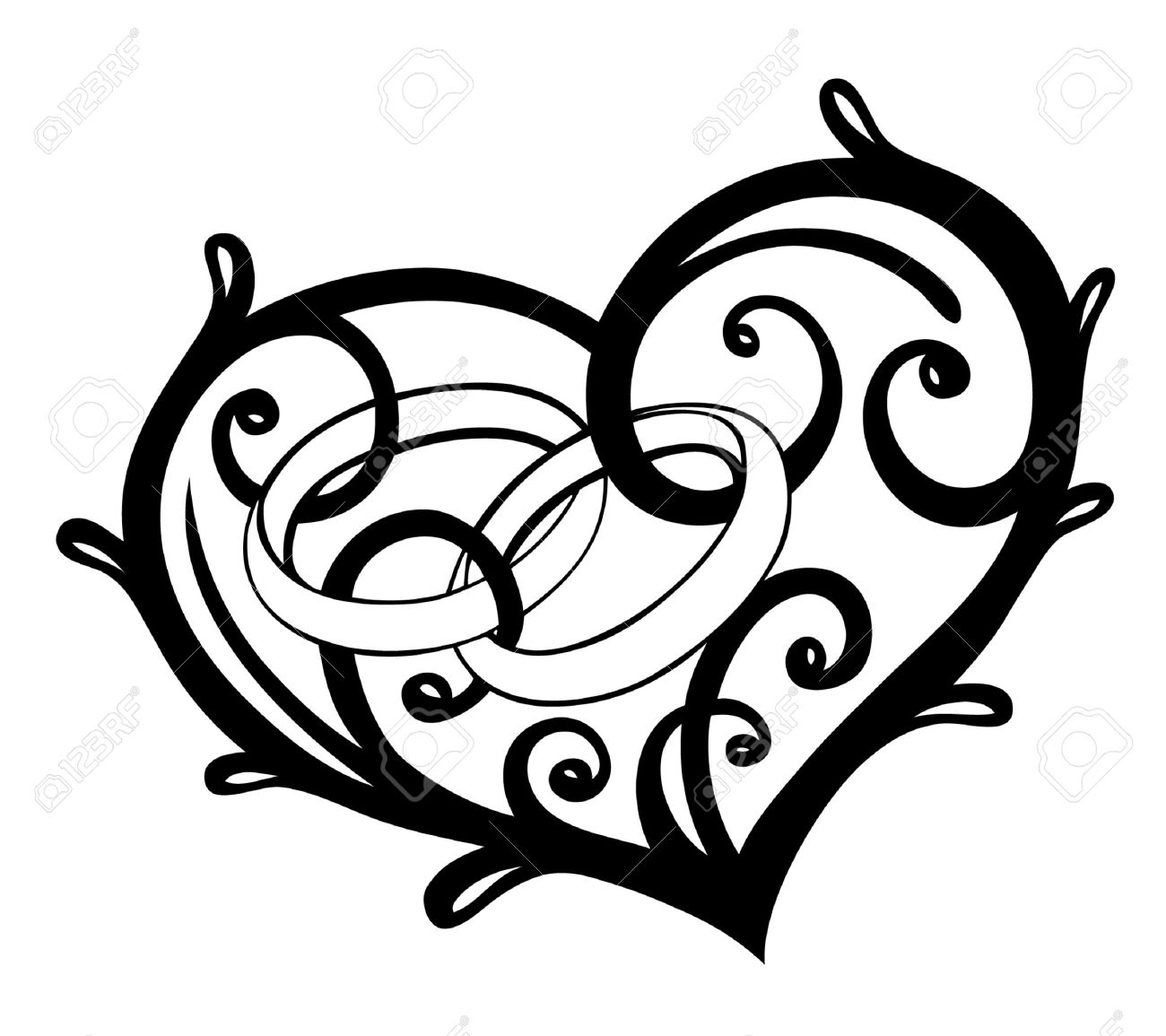 Heart with wedding rings, vector design elements Standard-Bild - 22437397