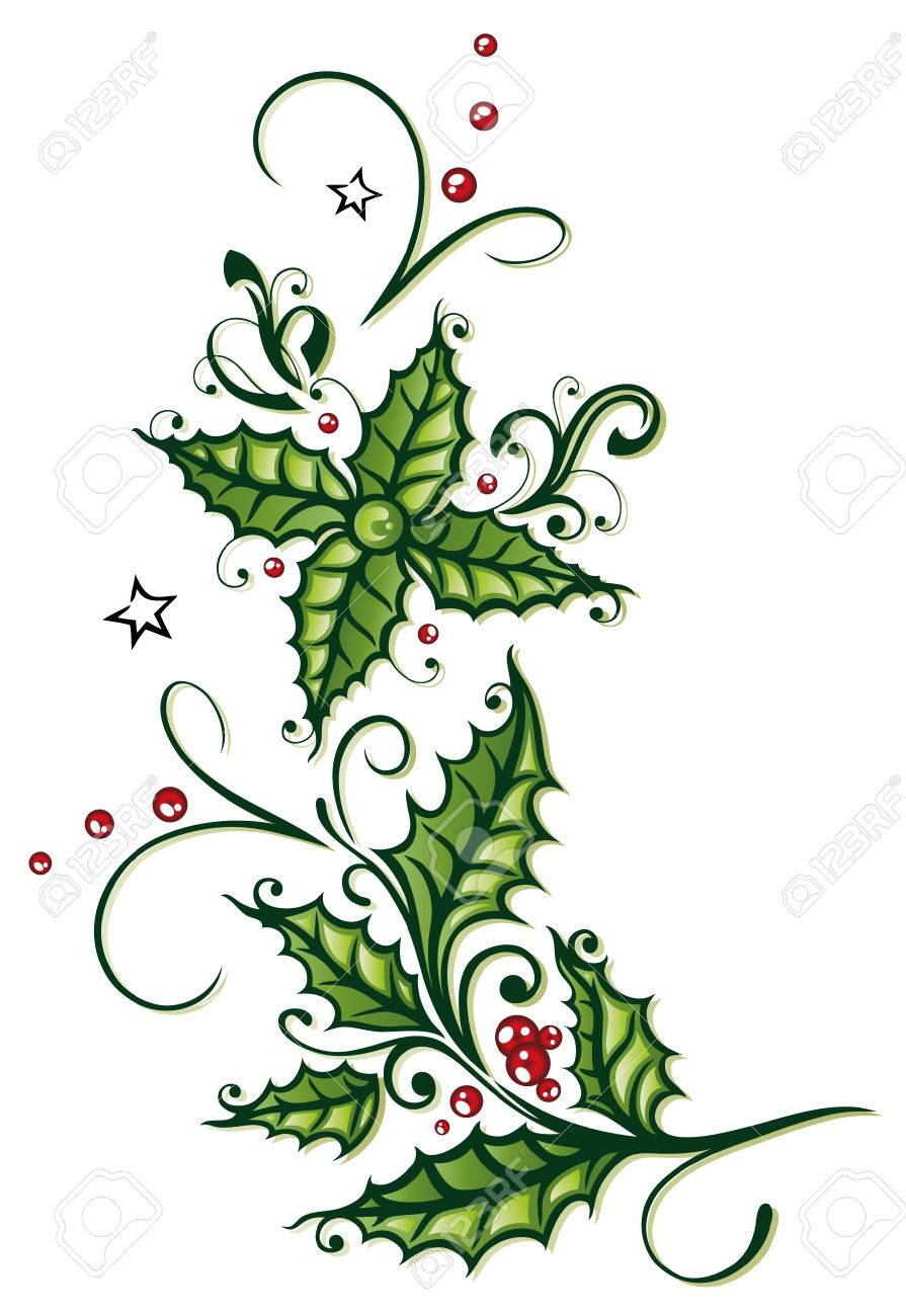 Colorful christmas decoration, holly and berries Standard-Bild - 22437666