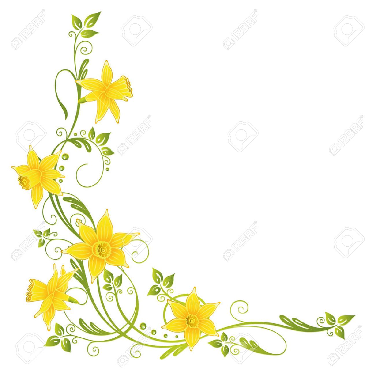 Colorful daffodils decoration, easter and spring vector element Standard-Bild - 22437674