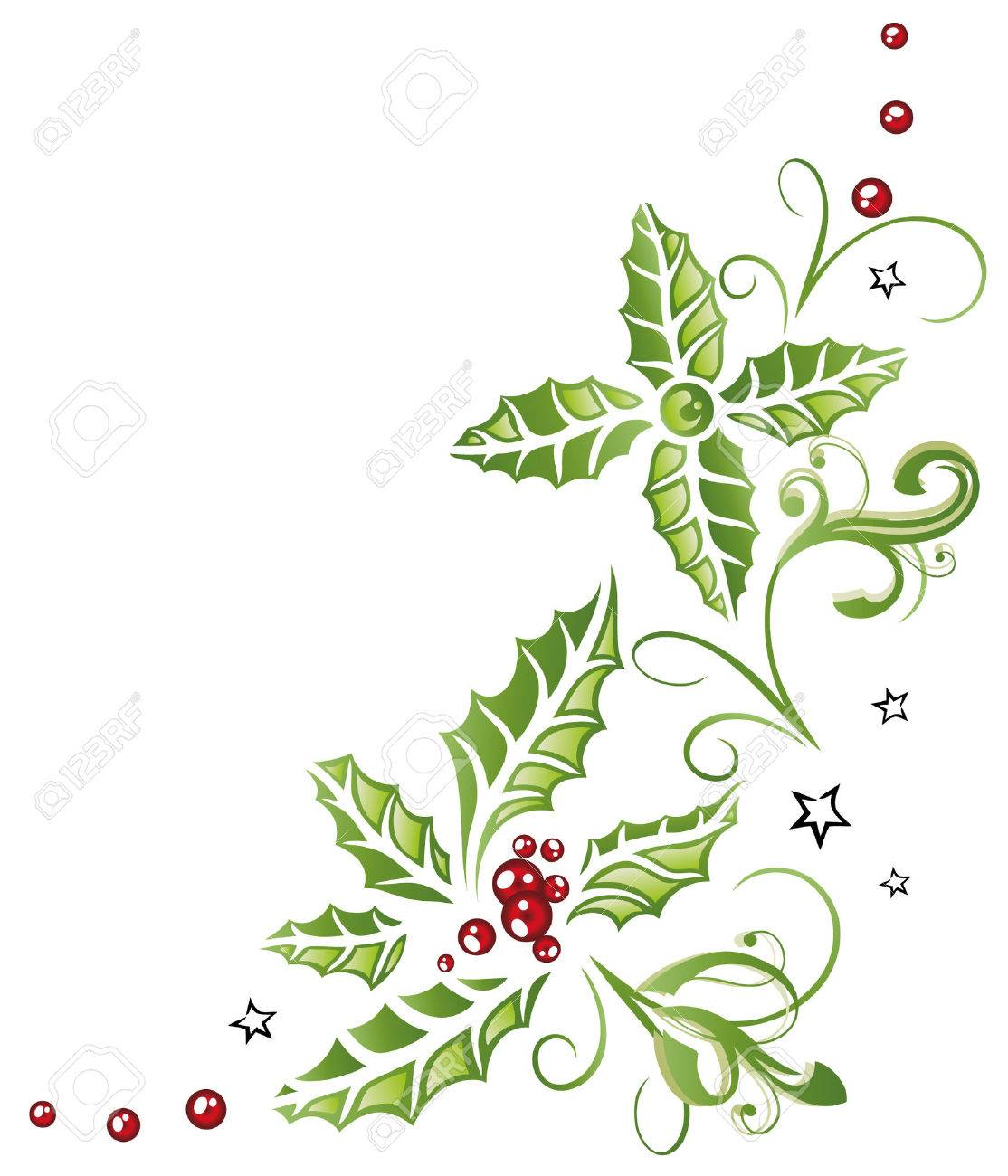 Colorful christmas decoration, holly and berries Standard-Bild - 22437880