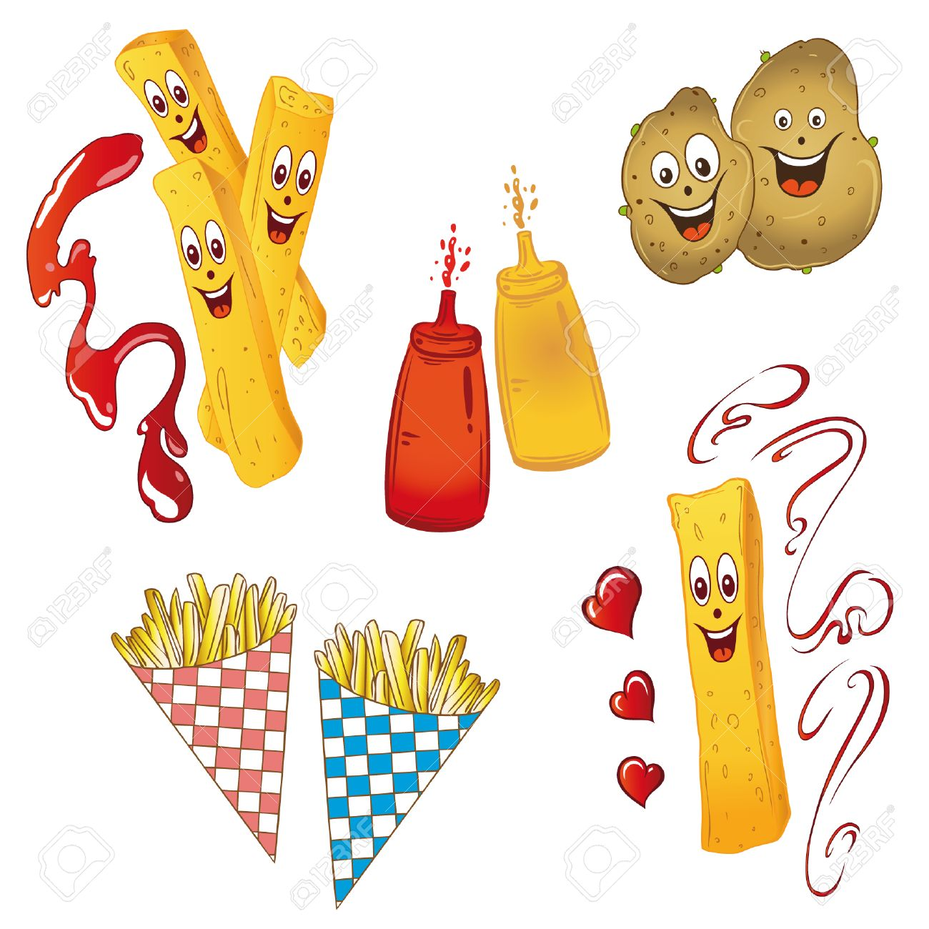 Potatoes and french fries, vector set Standard-Bild - 22787756