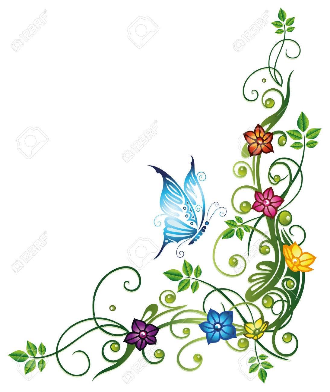 Blätter mit bunten Blüten und Schmetterling Standard-Bild - 23246866