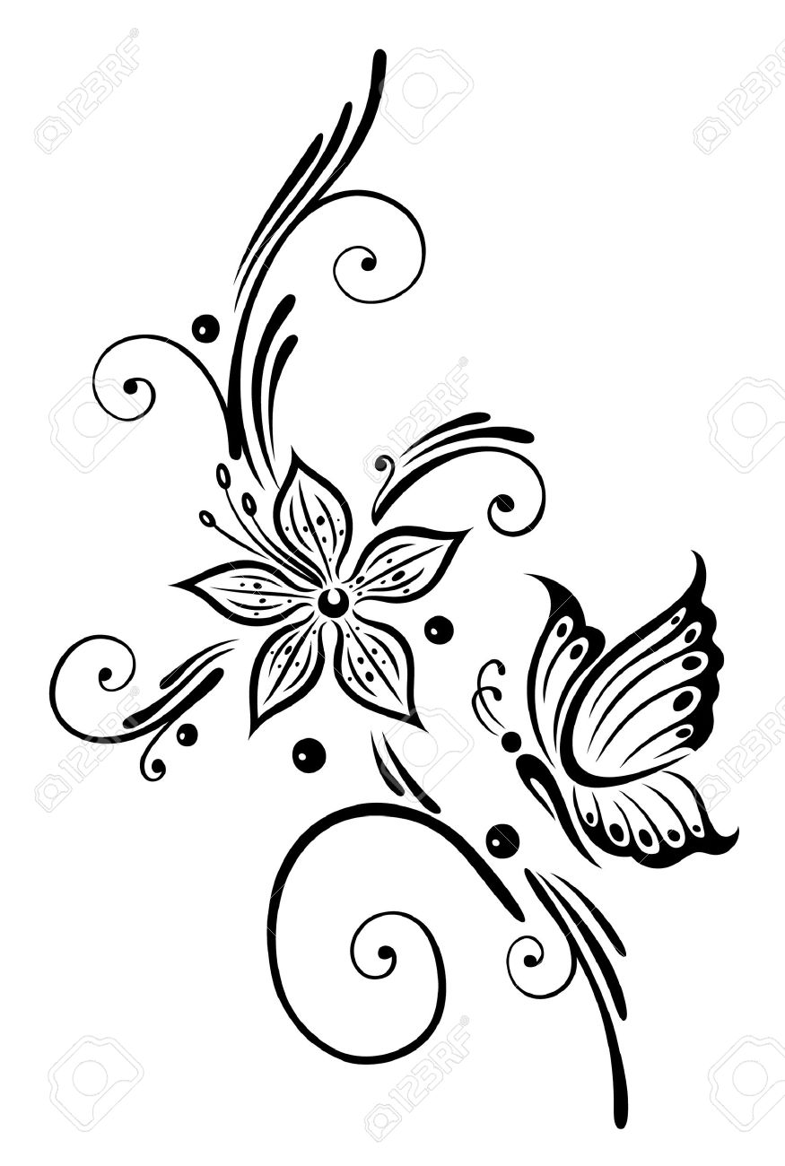 Black flowers with butterfly, tribal art Standard-Bild - 23246890