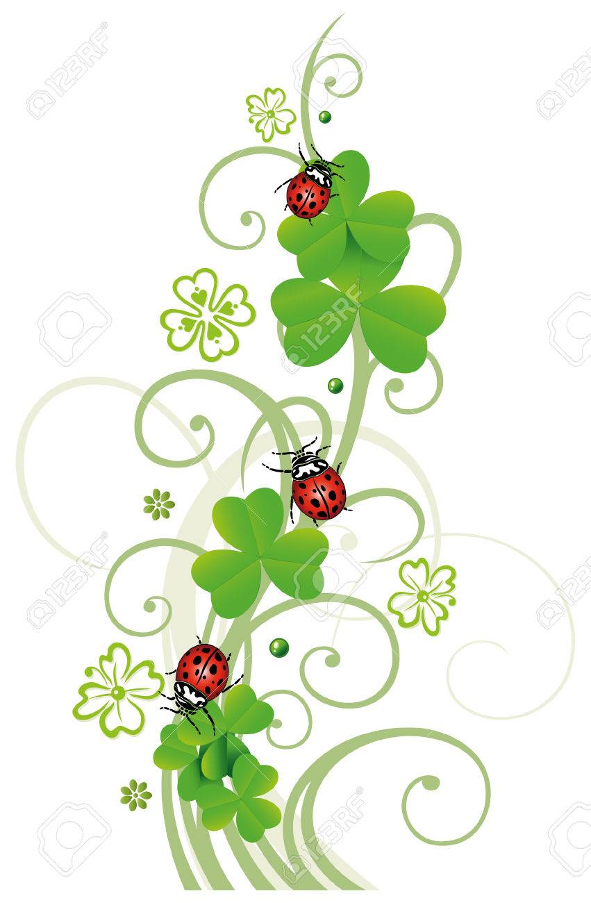 Sylvester tendril, clover with ladybugs Standard-Bild - 23246903