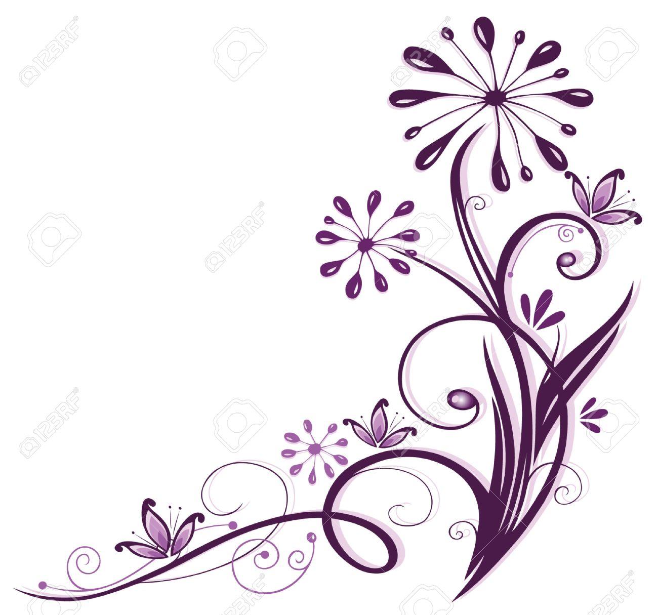 Purple and filigree flowers, floral element Standard-Bild - 23246964