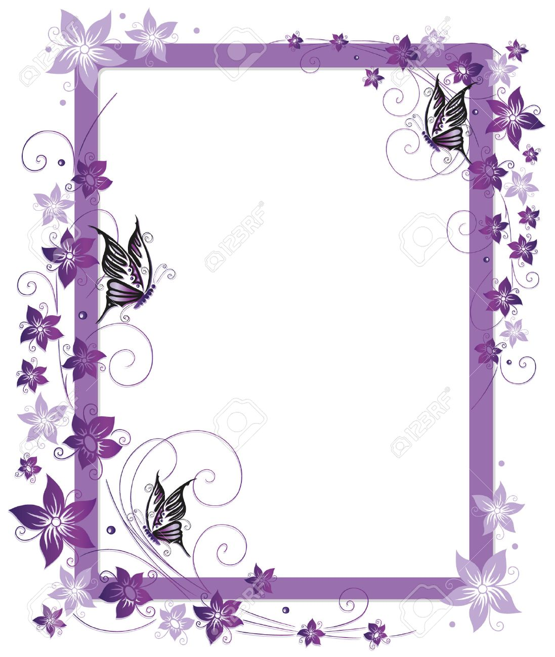 Beautiful frame with purple flowers and butterfly Standard-Bild - 23246982