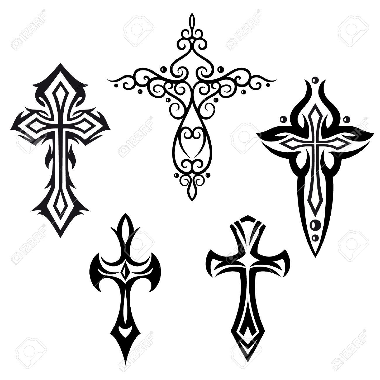 Vector mit Kreuzen Kruzifix religiösen design elements set Standard-Bild - 24600436