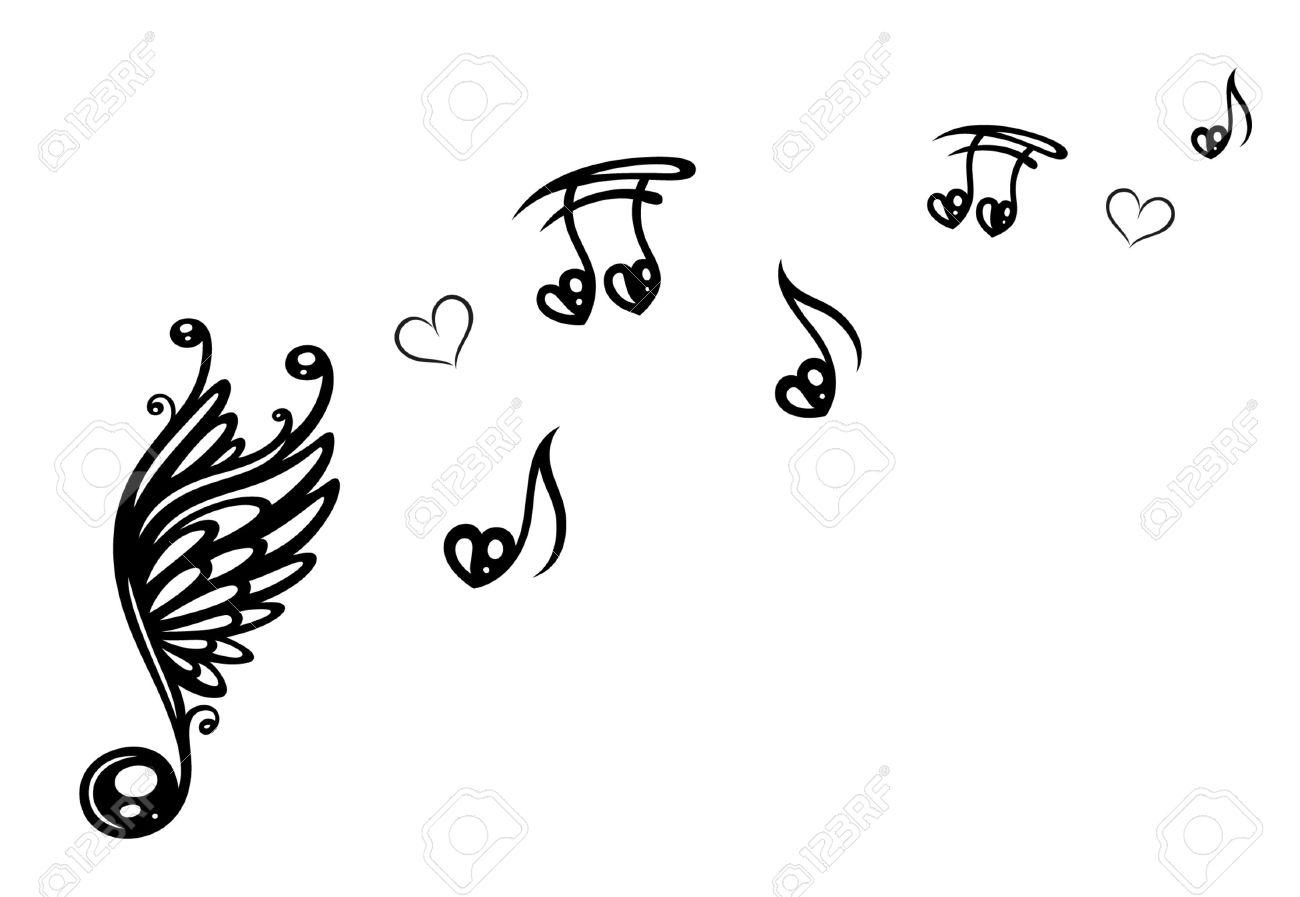 Große Musik-Note mit Flügeln, stellt Musik mit Liebe Standard-Bild - 24579098