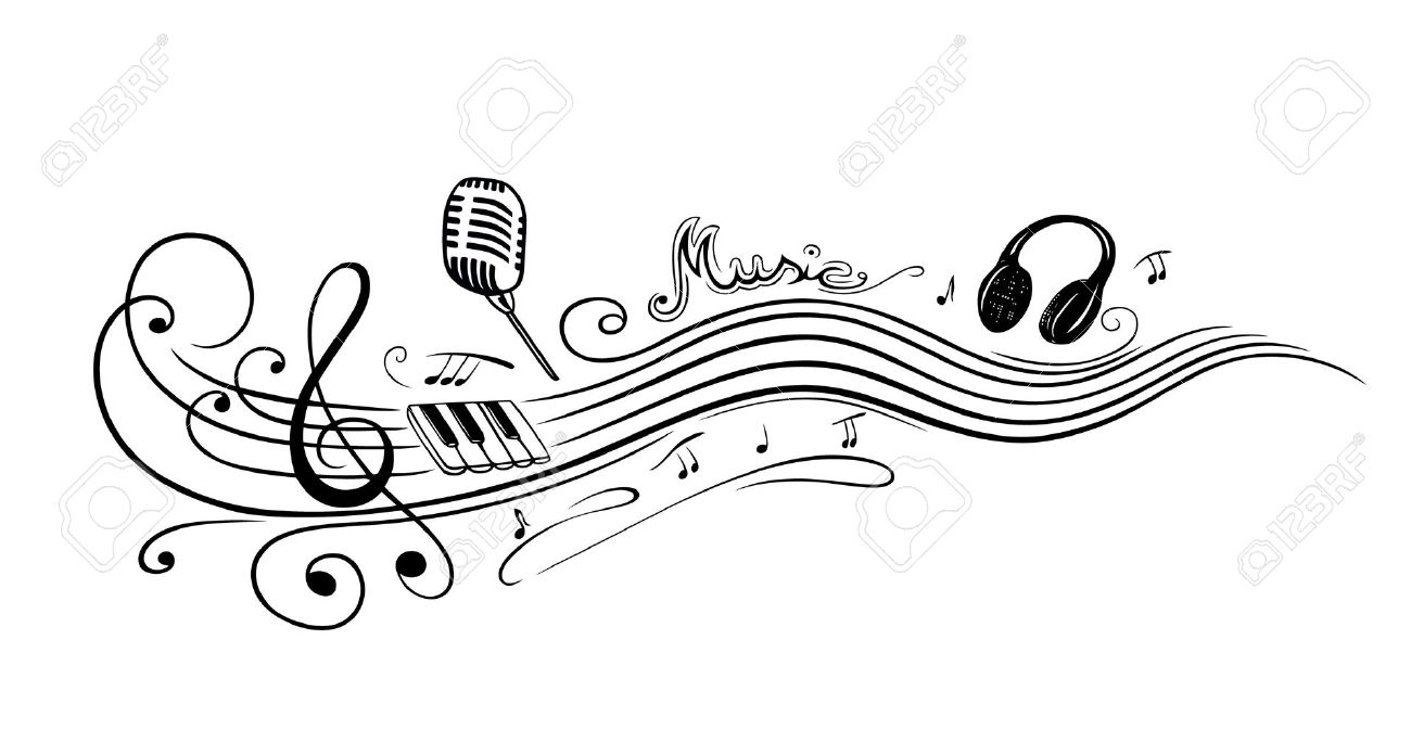 Clef with music notes, microphone and piano Standard-Bild - 24560890