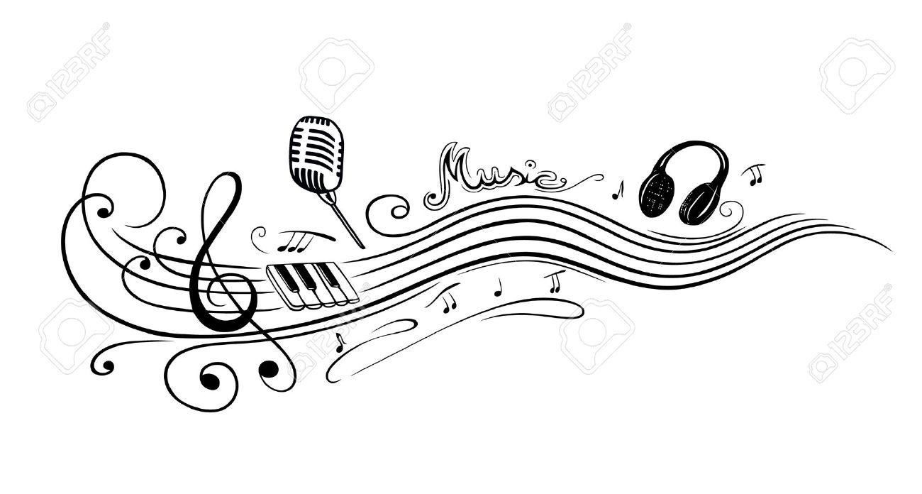 Notenschlüssel mit Musiknoten, Mikrofon und Klavier Standard-Bild - 24560890