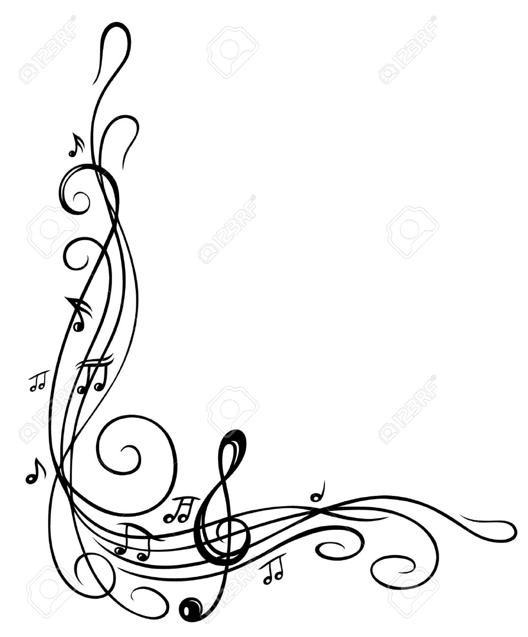 Clef with music sheet and music notes, border Standard-Bild - 24560889