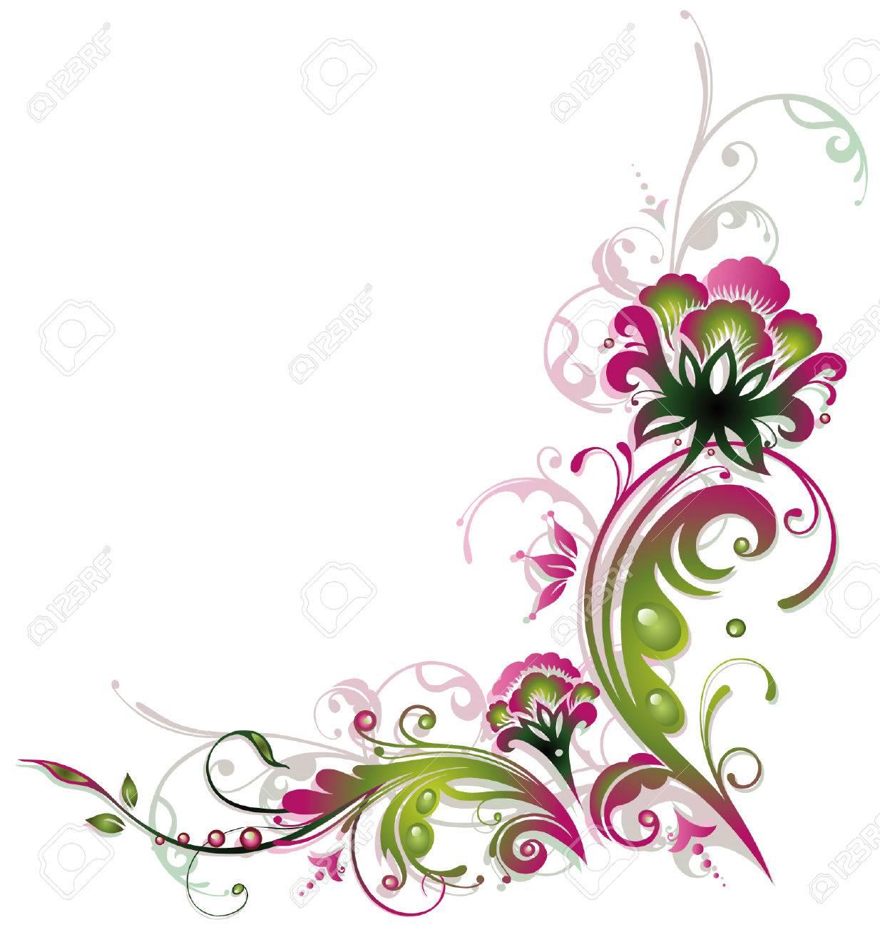 décoration colorée de fleur, rose et vert, cru clip art libres de