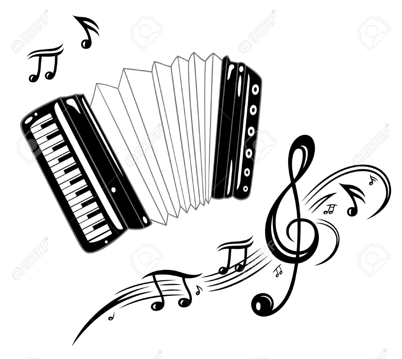 Accordion, musical instrument with music notes Standard-Bild - 29823422