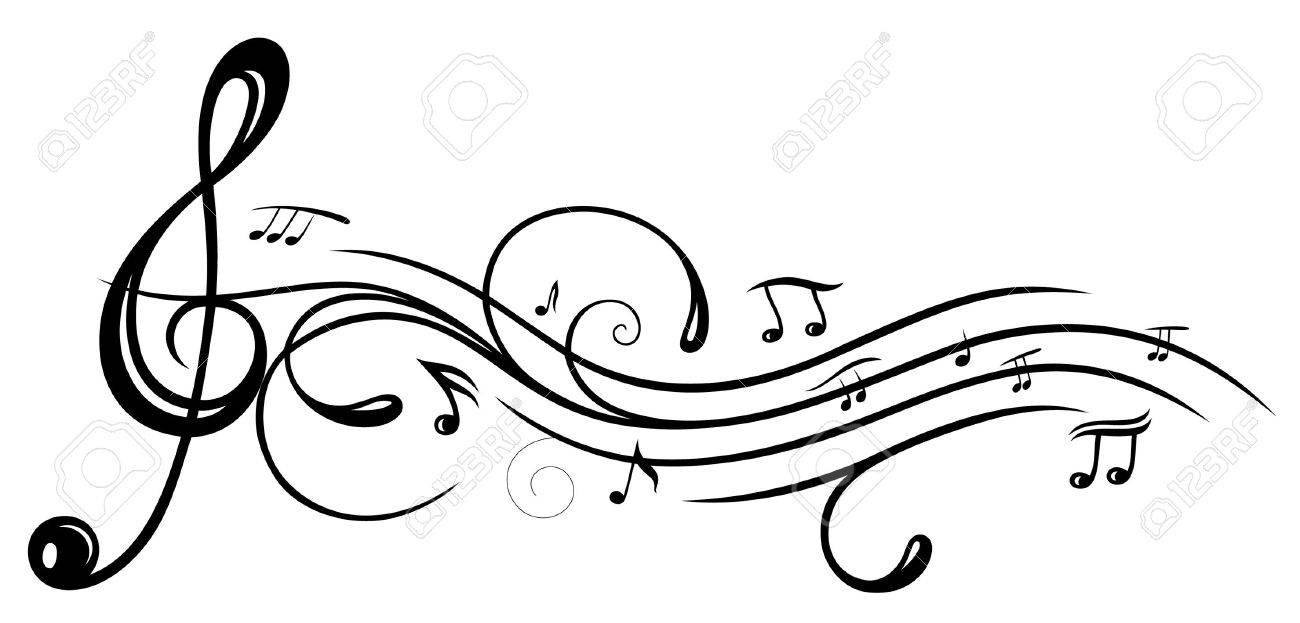 Music sheet with clef and music notes Standard-Bild - 38743097