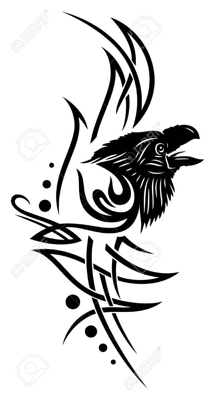 Tribal crow tattoo designs