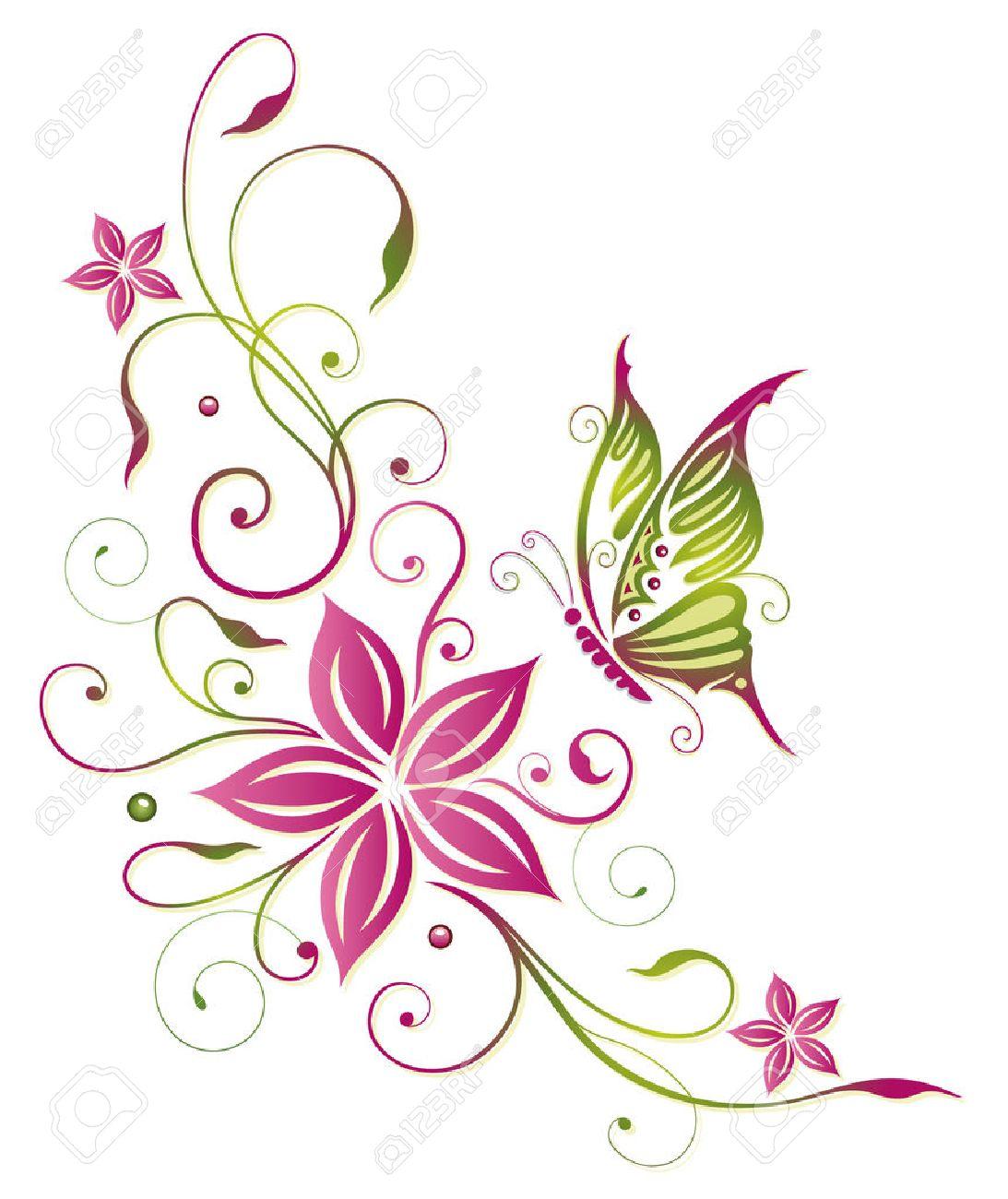 Large flower with butterfly Standard-Bild - 43682724