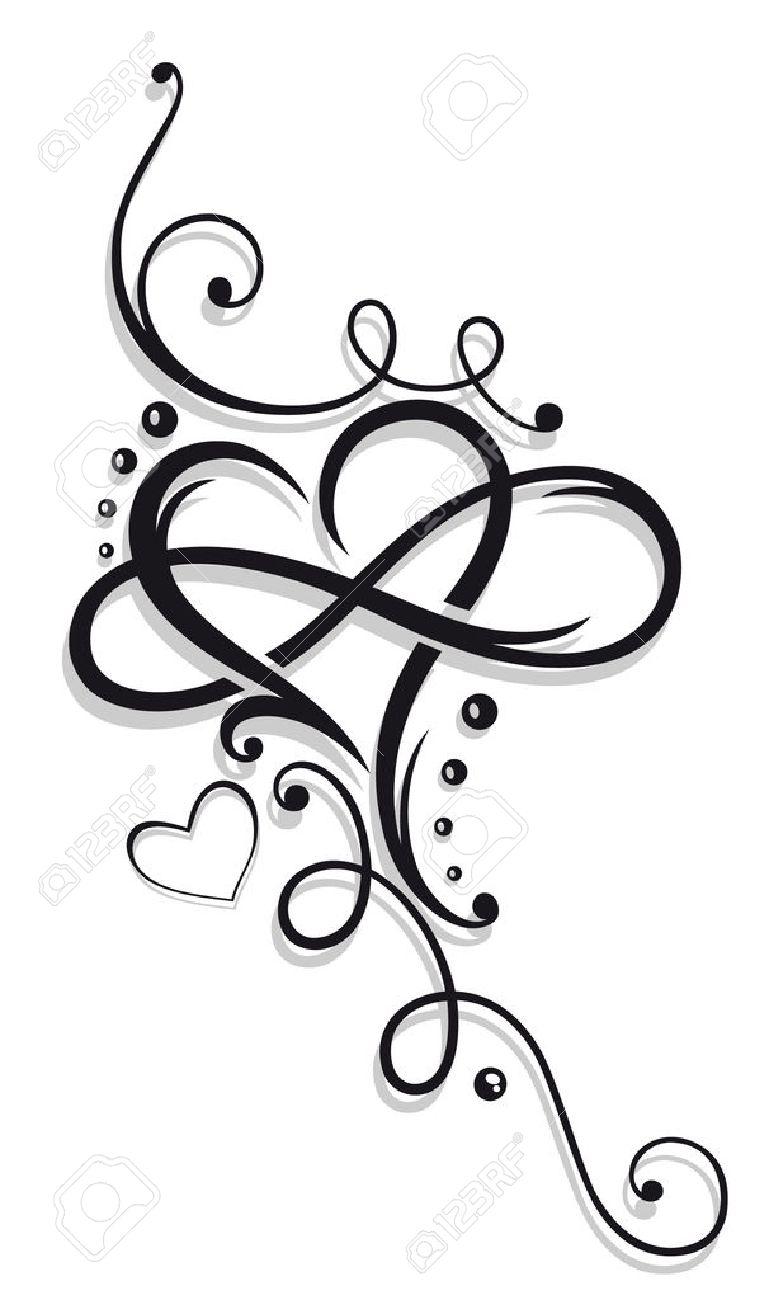Herz und Unendlichkeit, Tätowierung zum Valentinstag Standard-Bild - 51275734