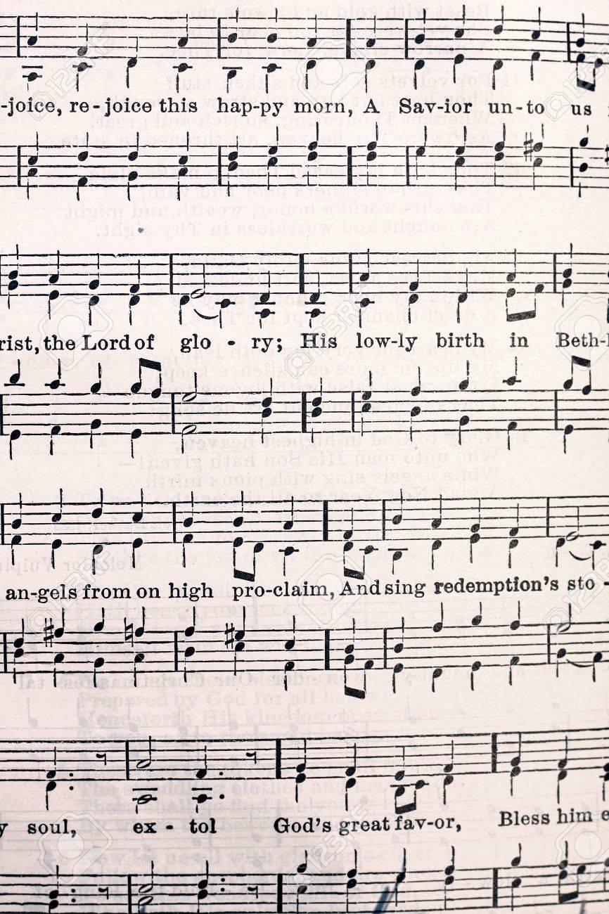 音符と歌詞、古いルーテル教会賛...