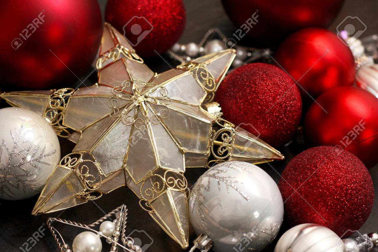 Silver Gold And White Christmas Ornaments Including Bulbs And Stock Photo Picture And Royalty Free Image Image 24049991