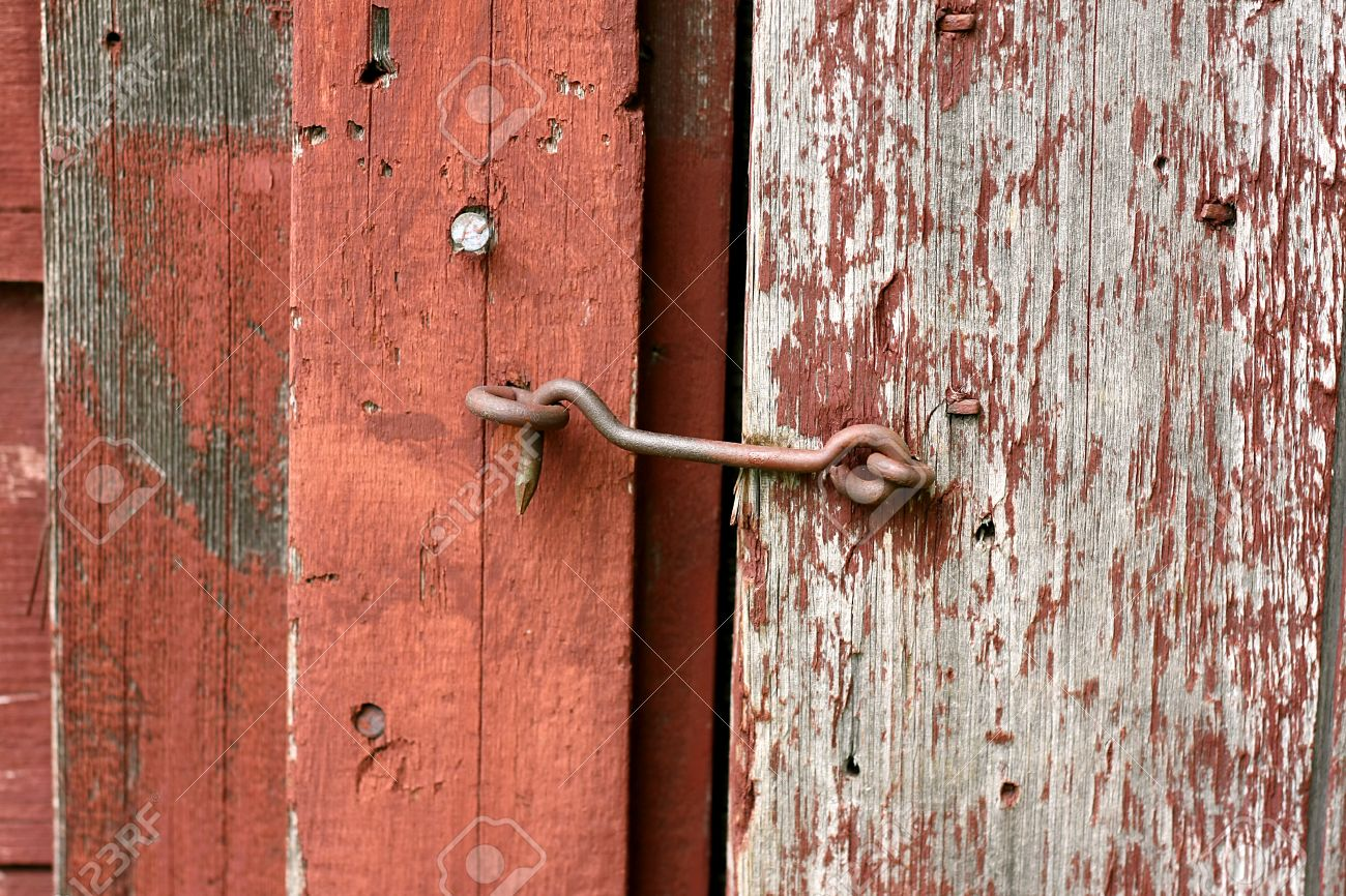 Barn door hook latches - Close Up On An Antique Hook And Eye Latch Lock On An Old Rustic Red Barn